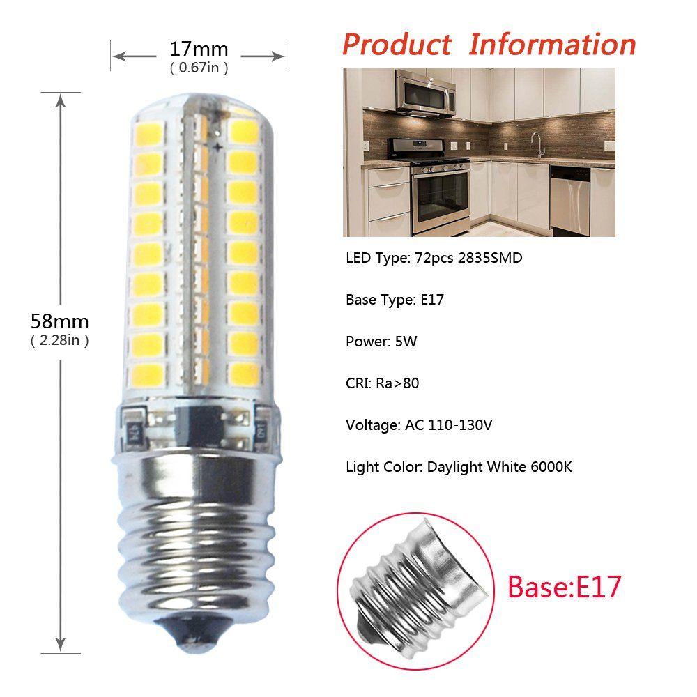 Ikai E17 Led Bulb Microwave Oven Appliance Light Dimmable 5 Watt 6000k 72x2835smd Ac110130vpack Of 2 Daylight White Led Bulb Oven Appliance Fan Light Fixtures