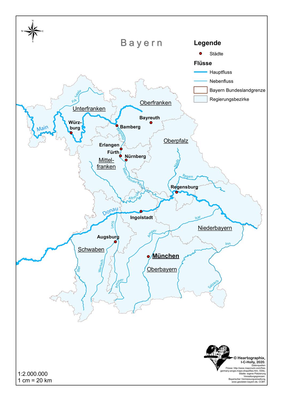 Stumme karte bayern flüsse