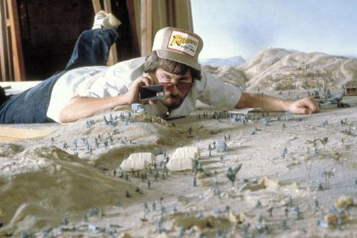 Steven Spielberg filming Indiana Jones and the Raiders of the Lost Ark.