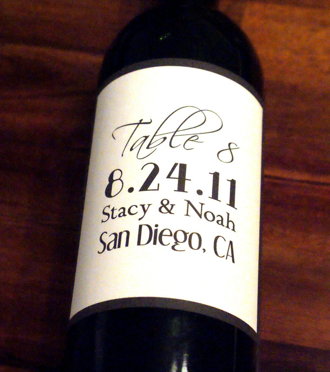 Wine Label, Wedding Wine Label, Custom, Personalized, Label, Table ...