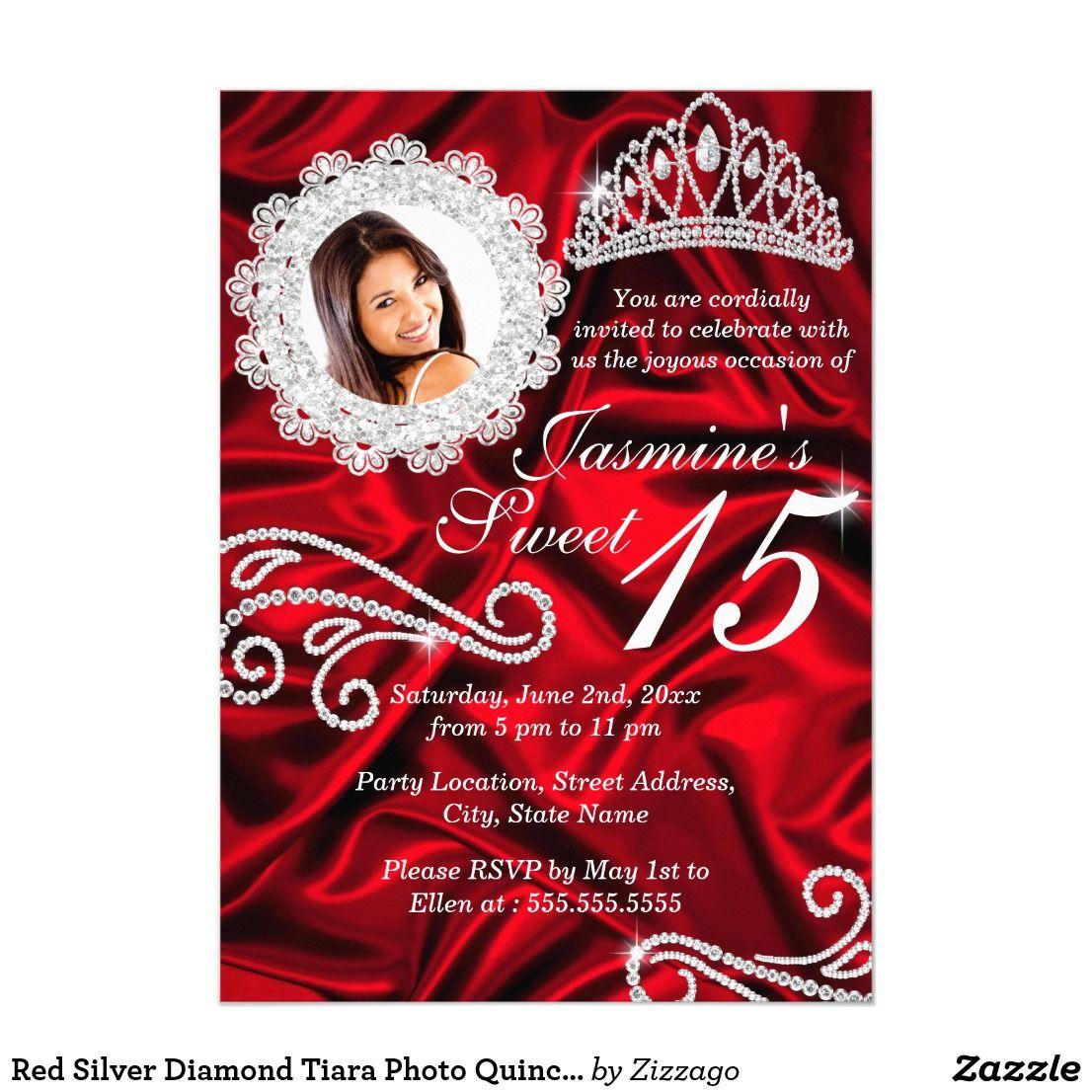 Red Silver Diamond Tiara Photo Quinceanera Invitation | Birthday ...