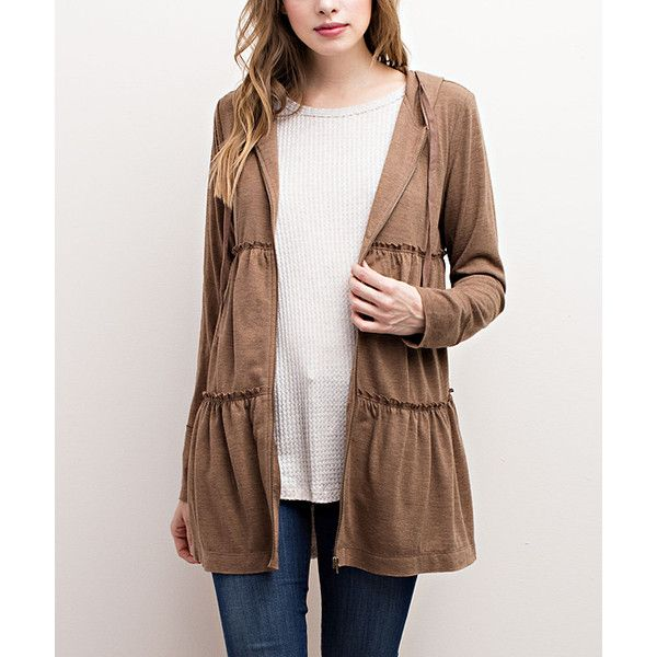 Mittoshop Mocha Tier Hooded Zip-Up Cardigan ($33) ❤ liked on Polyvore featuring tops, cardigans, brown cardigan, cardigan top, hooded cardigan, zip up top and brown top