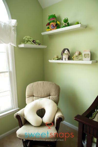 Nursery White Floating Shelves Espresso Beige Glider