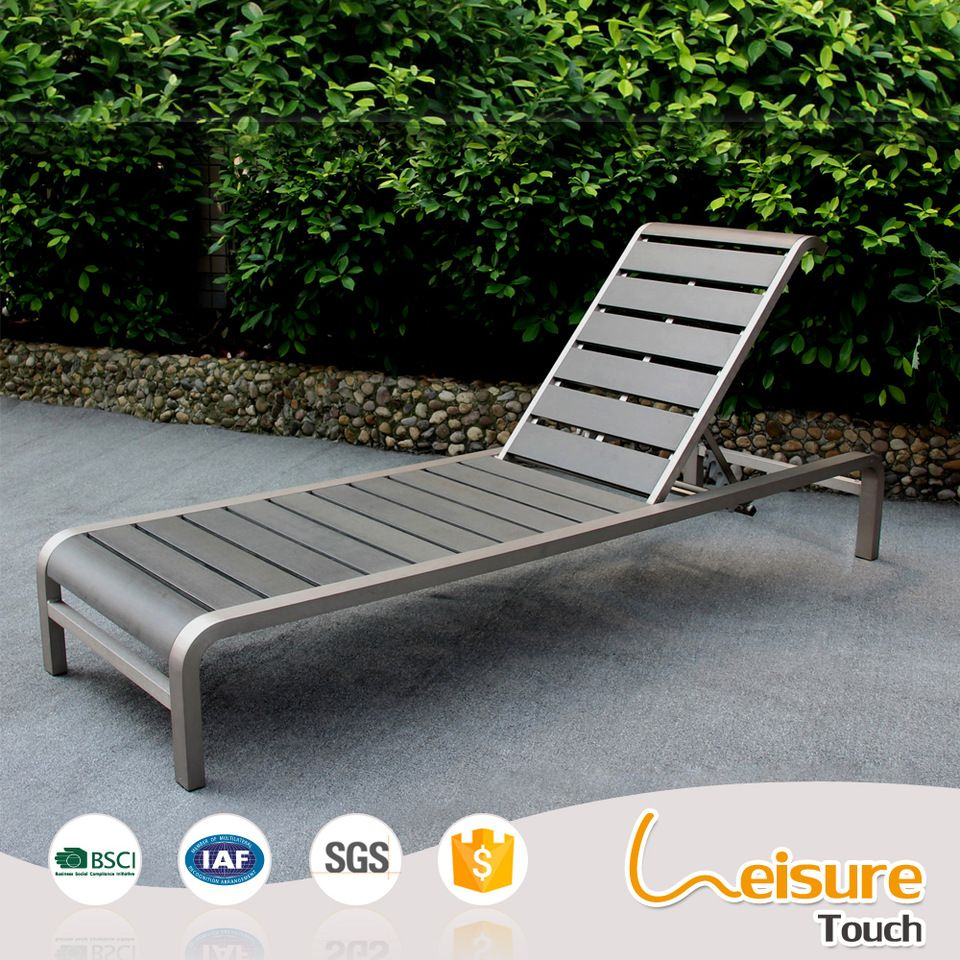 Outdoor Beach Metal Funiture Brushed Aluminum Polywood Deck Chair