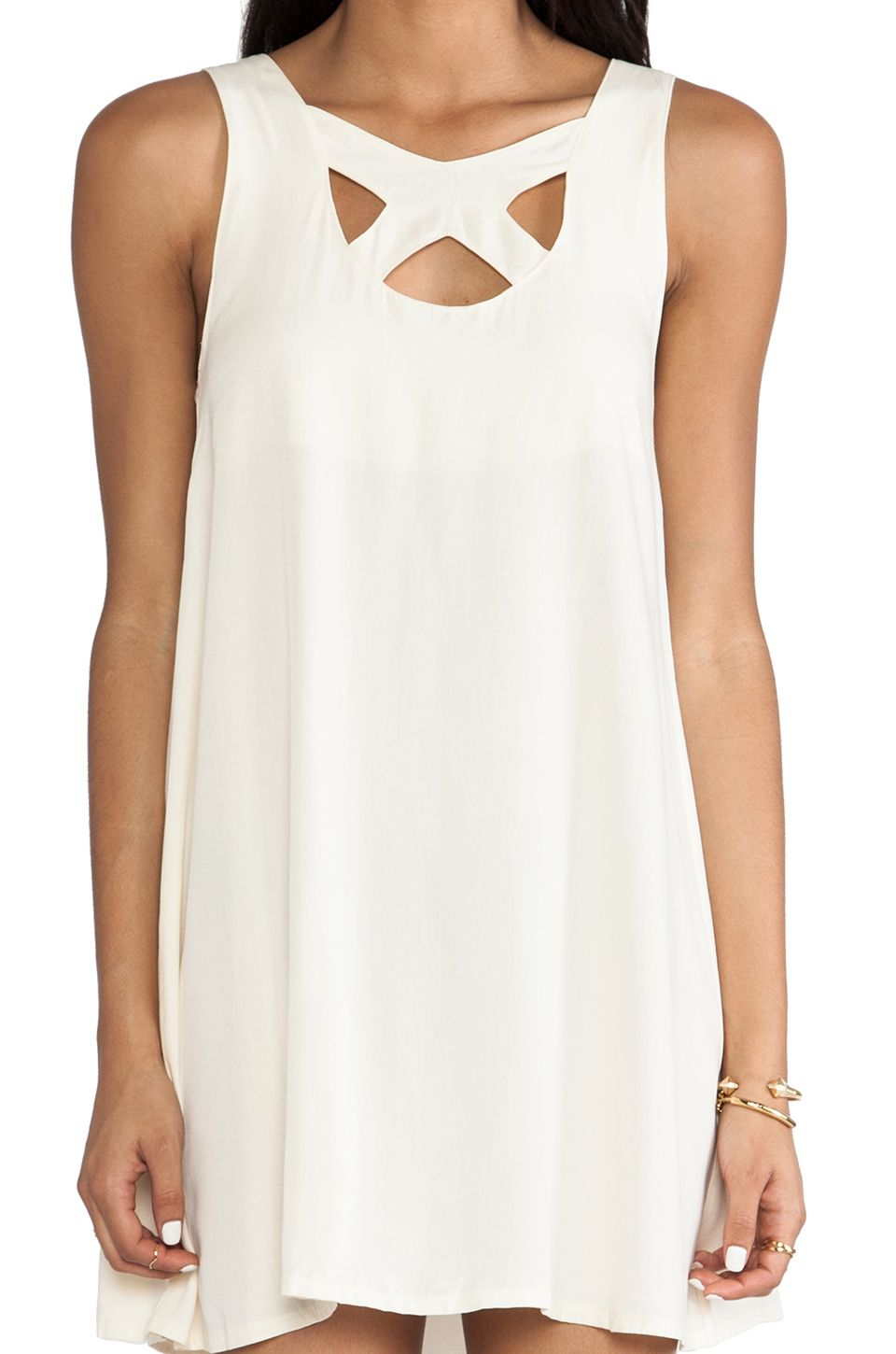 White Sleeveless Hollow Backless Loose Dress