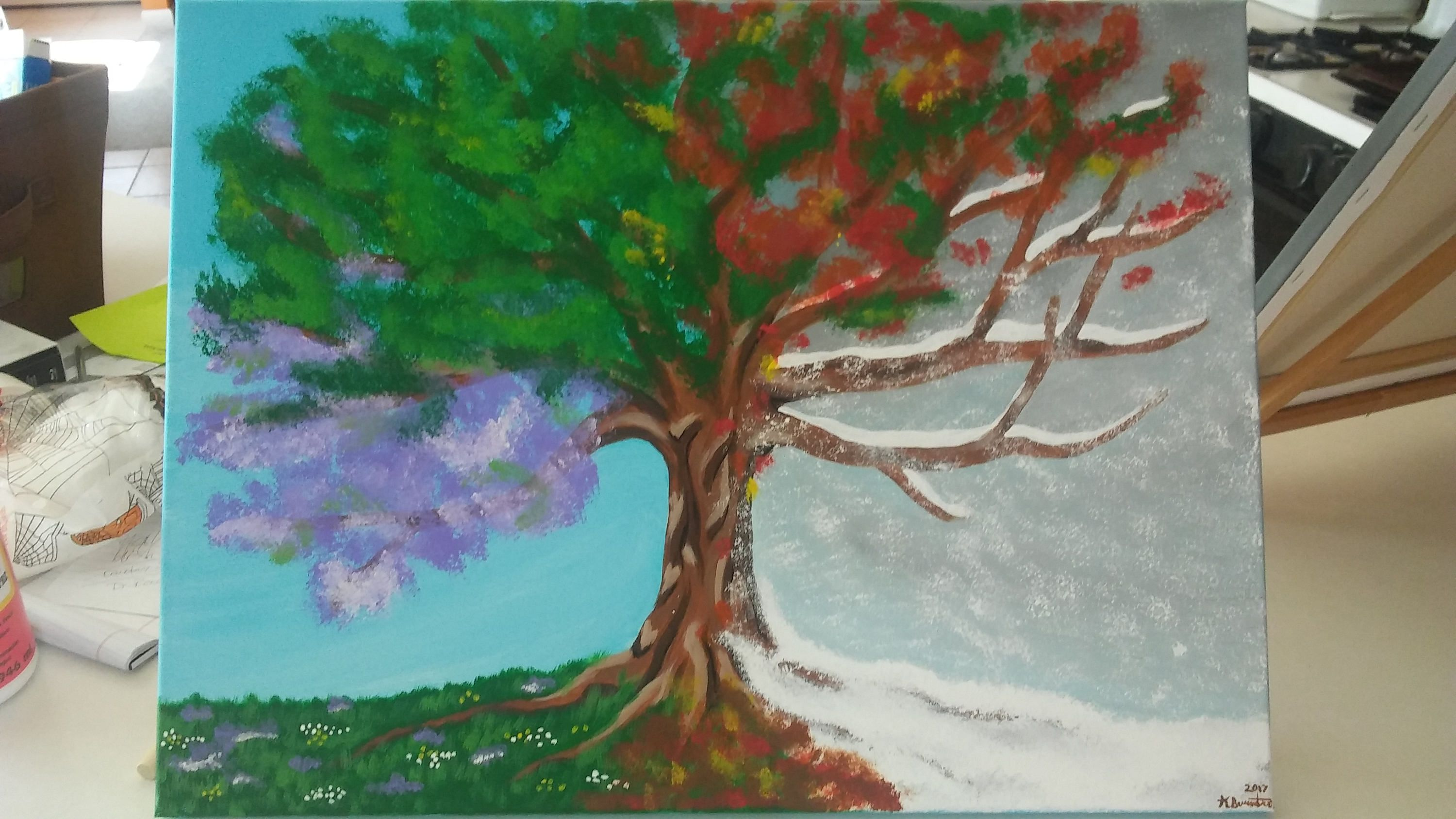 Four Seasons Tree Painting Acrylic Paint On 16x20 Inch Stretched