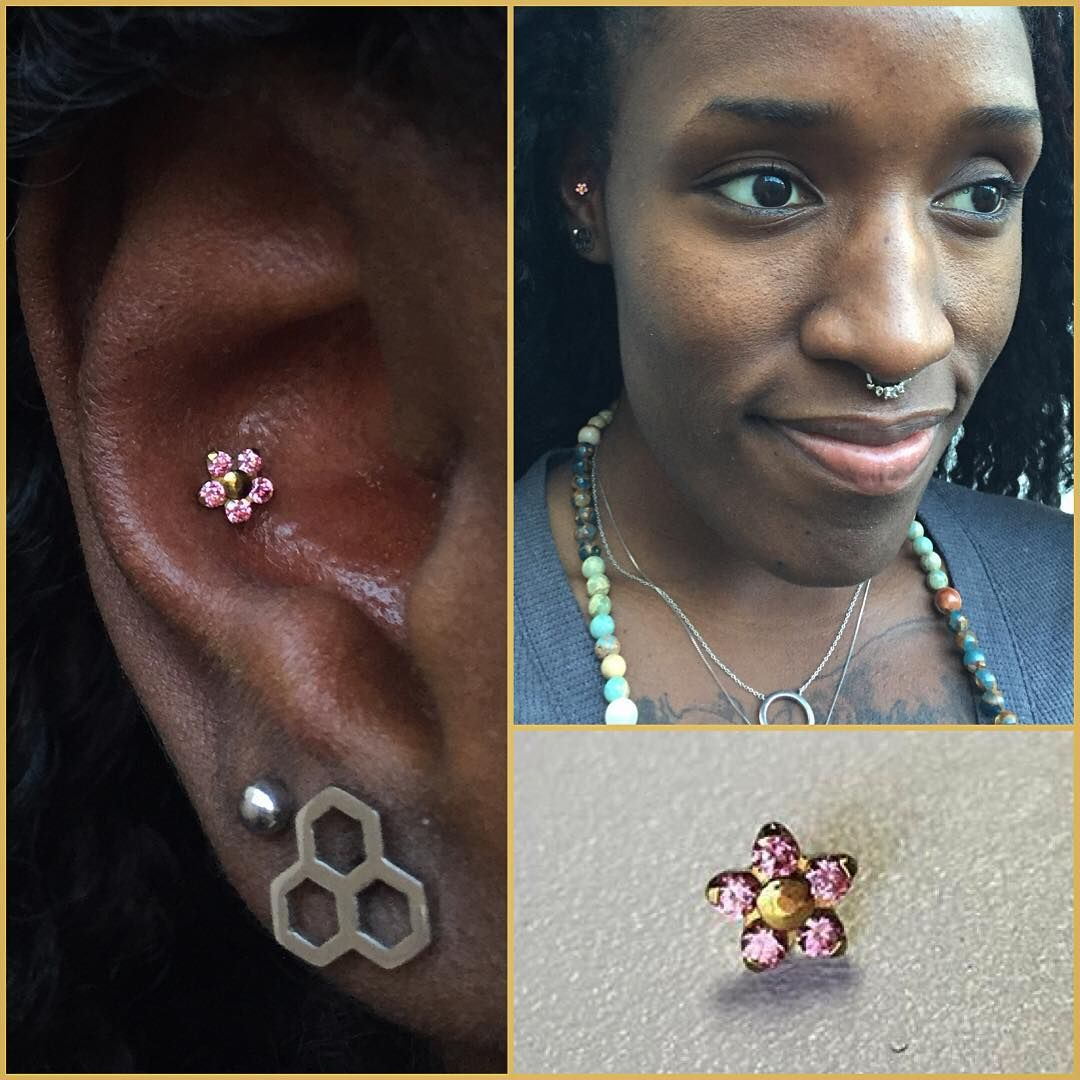 Piercing nose at home  My favorite flower found a home in a fresh conchpiercing neometal