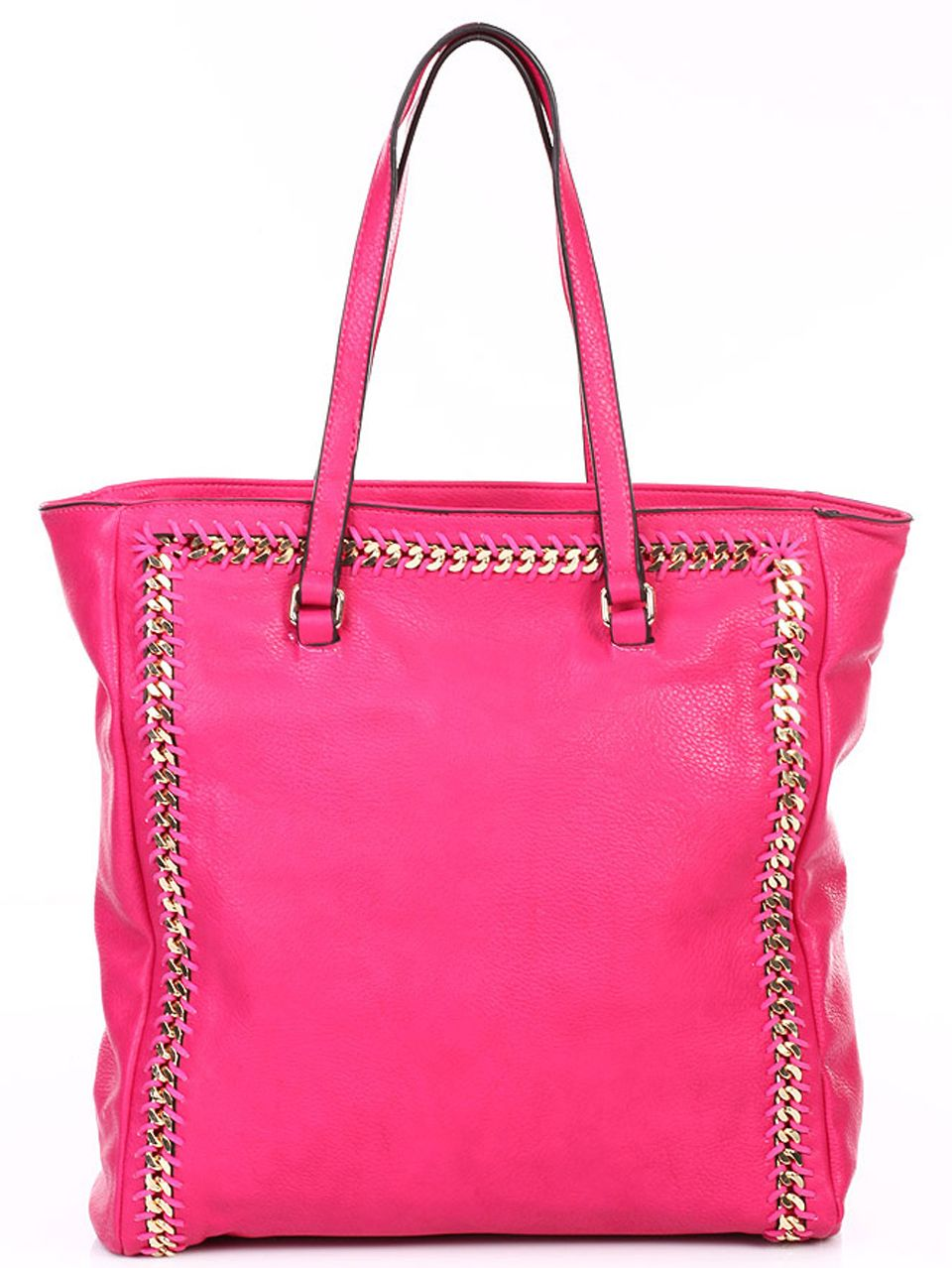 Fuchsia Hot Pink Leather Tote
