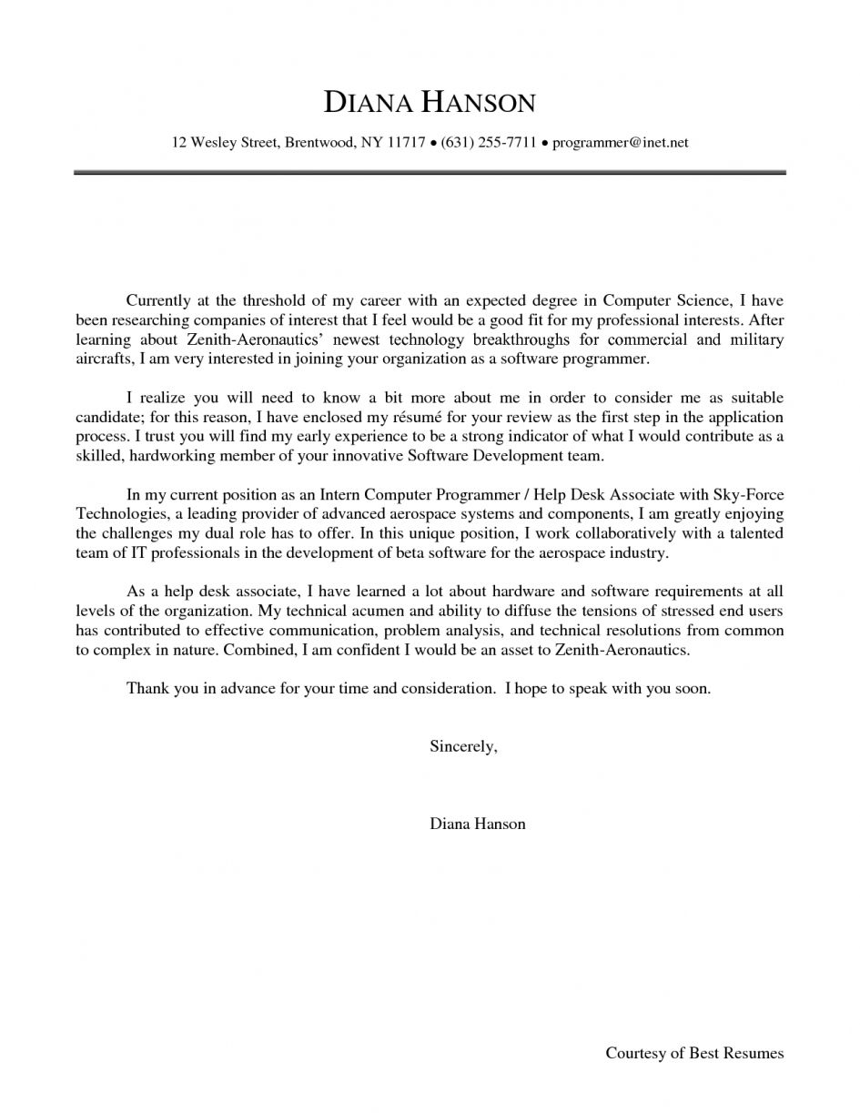Sample Cover Letter For Internship In Computer Science