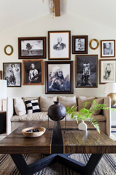 Perfect Rustic Gallery Wall, Vintage Portraits, Living Room By Lauren Liess