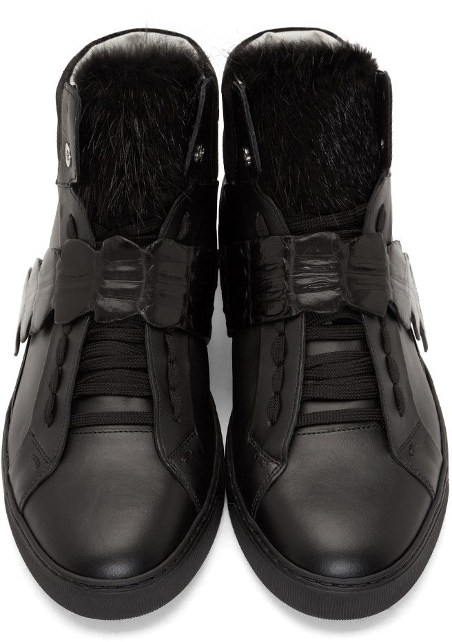e1060d96d6 Fendi Black Fur-Trim Leather & Croc High-Top Sneakers | men shoes ...