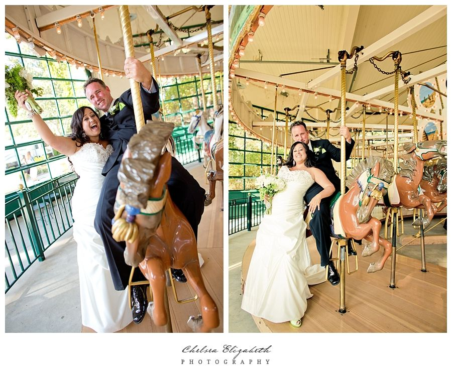 Chase Palm Park Wedding   Santa Barbara Carousel bride and groom portraits. By Chelsea Elizabeth Photography.