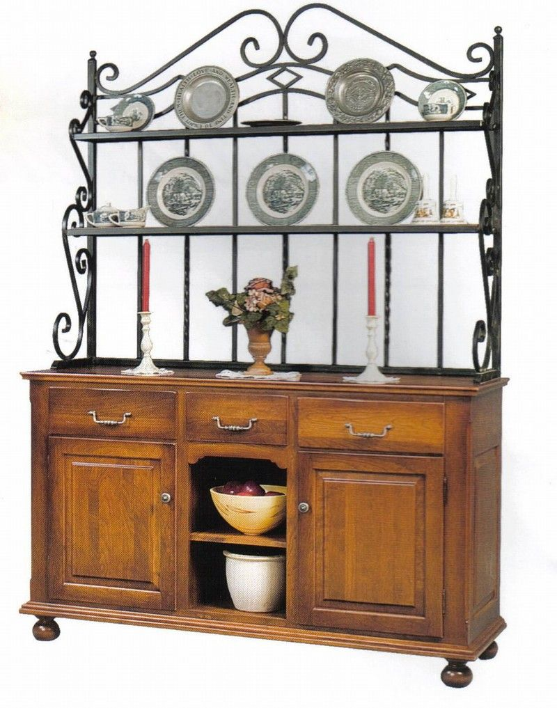 This French Country Style Hutch With Baker Rack Top Will Help To Get Your Kitchen Organized