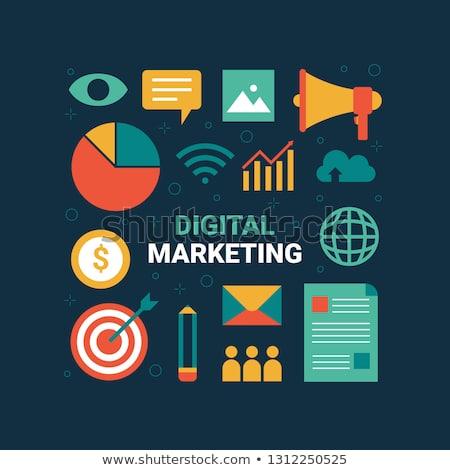 Flat Design Online Digital Marketing Icons Global Business Commerce Vector Illustration Marketing Icon Inbound Marketing Infographics Infographic Marketing