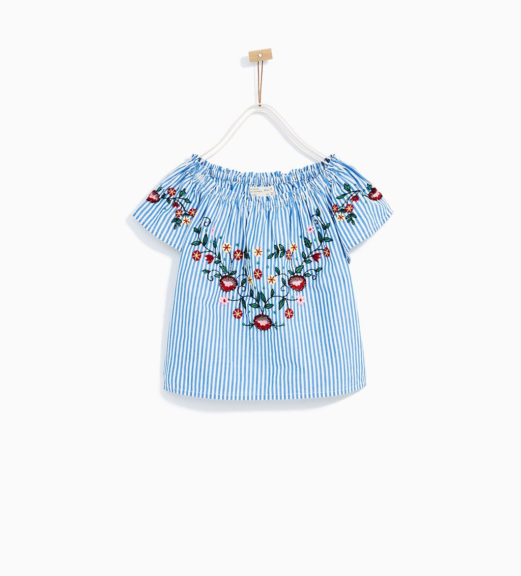 f7607b198dd5 STRIPED AND EMBROIDERED TOP-NEW IN-GIRL | 4-14 years-KIDS | ZARA United  States