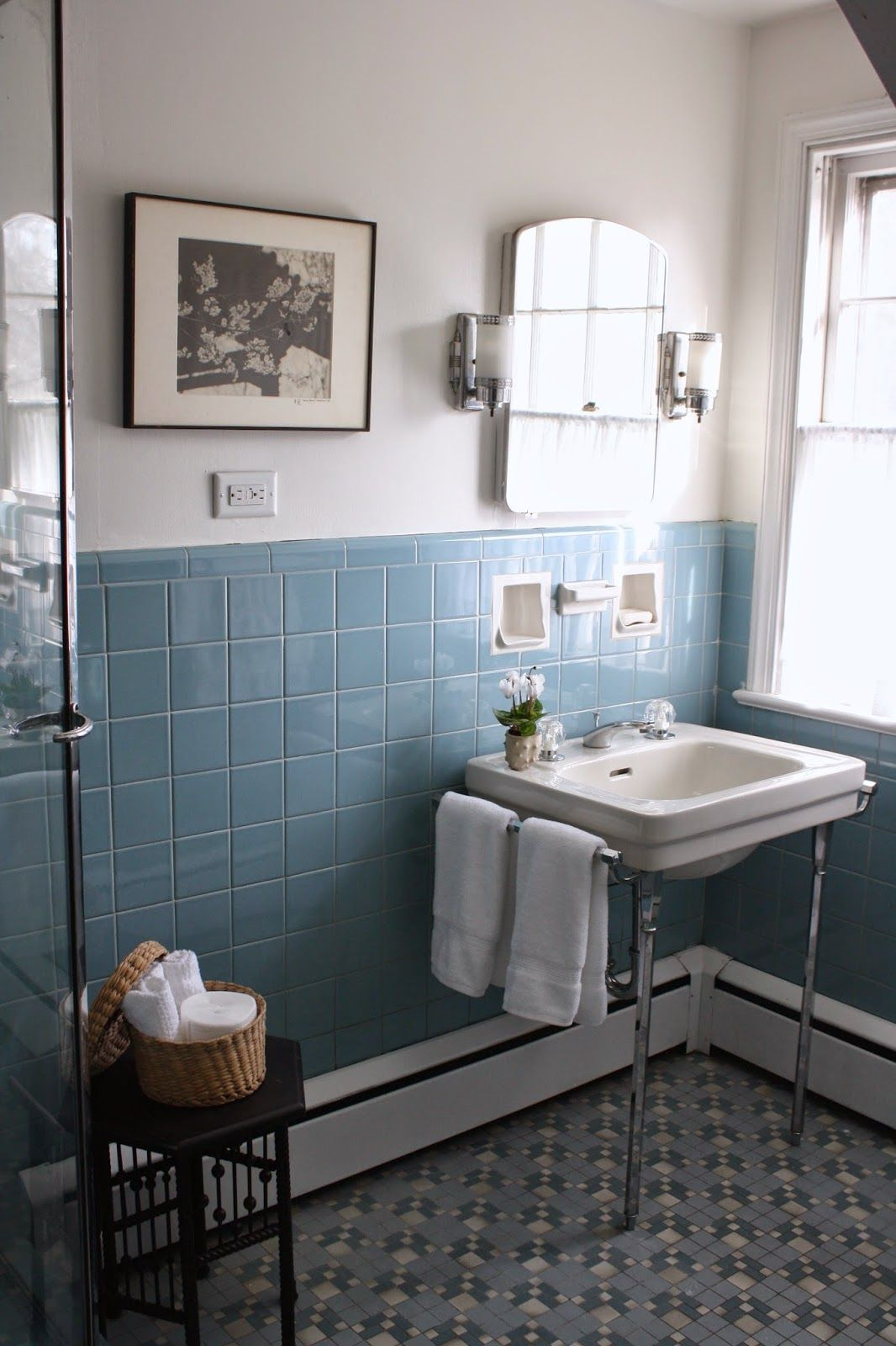 Vintage colored tile bath with field tile in muted blue
