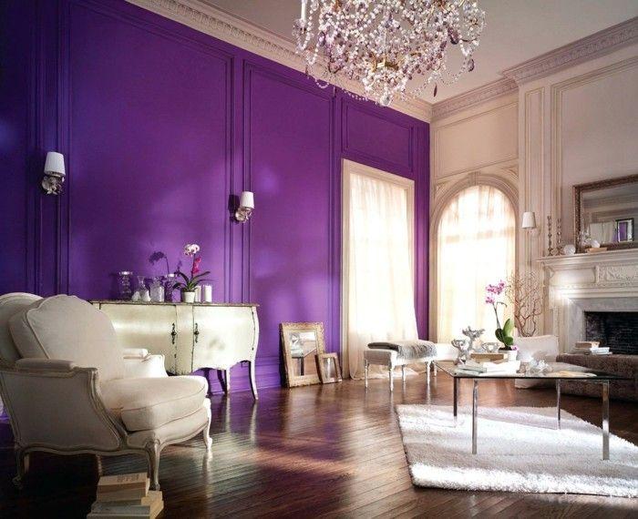 Die Farbe Lila großes wohnzimmer schöner kronleuchter lila wand - Wohnzimmer Modern Lila
