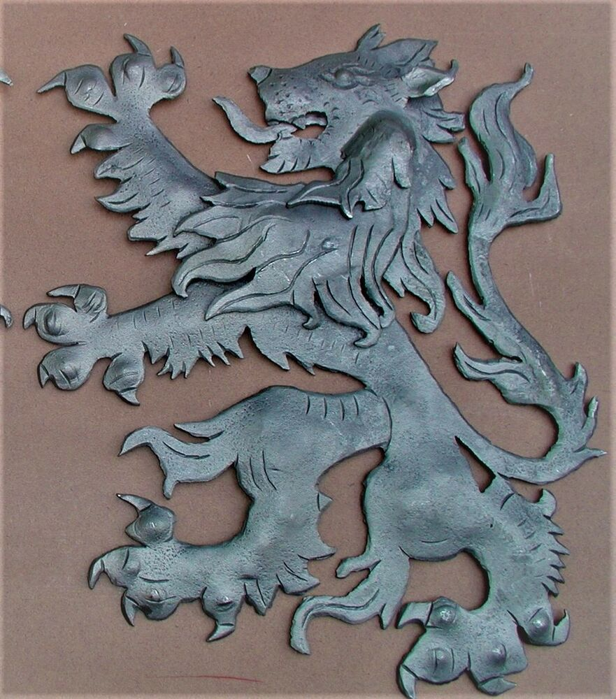 Scottish Fighting Lion Plaque Shield Crest Wrought Iron By