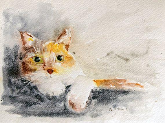 Aquarelle Originale De Chat Roux Et Blanc Couche Peinture