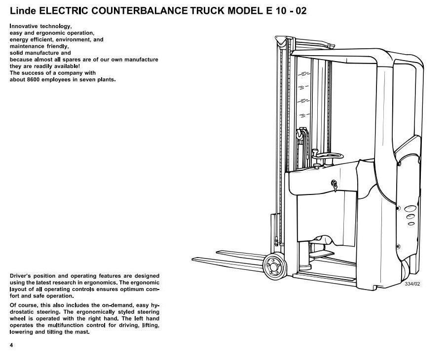 linde electric forklift truck type 334