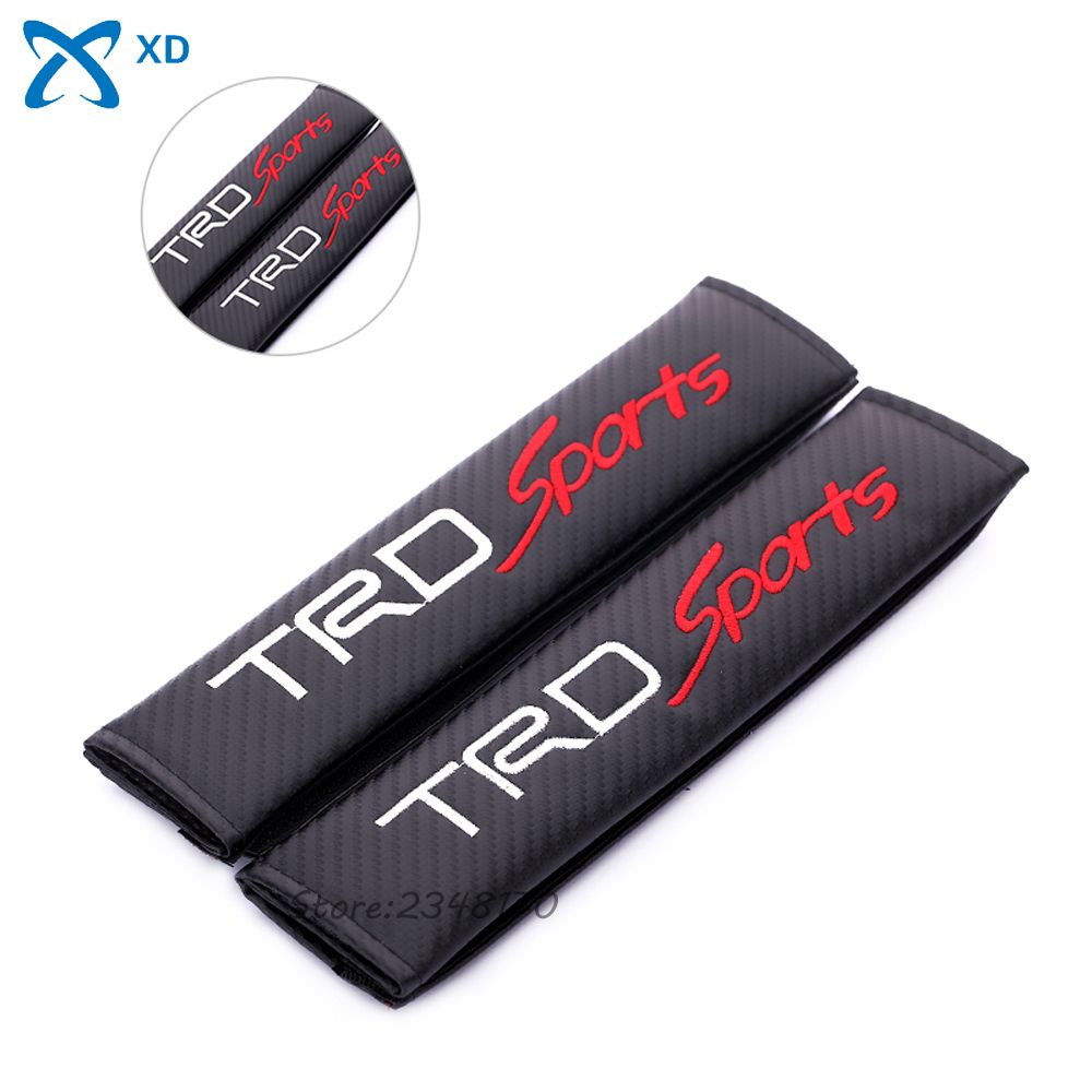 Auto For Toyota TRD Sports Logo Seat Safety Belt Cover Shoulder Pad Sleeve Carbon Fiber Cloth For Toyota Camry Prado Hiace Hilux