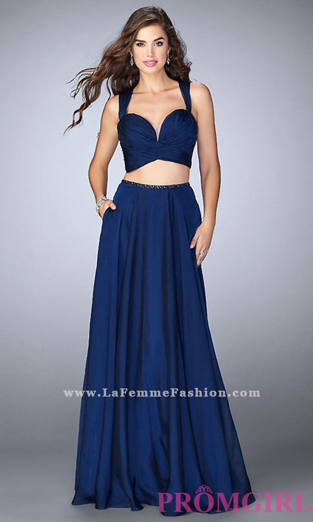 98ebd86327da Long plunging sweetheart open back two piece prom dress with a ruched bust  by La Femme. Style  LF-23979