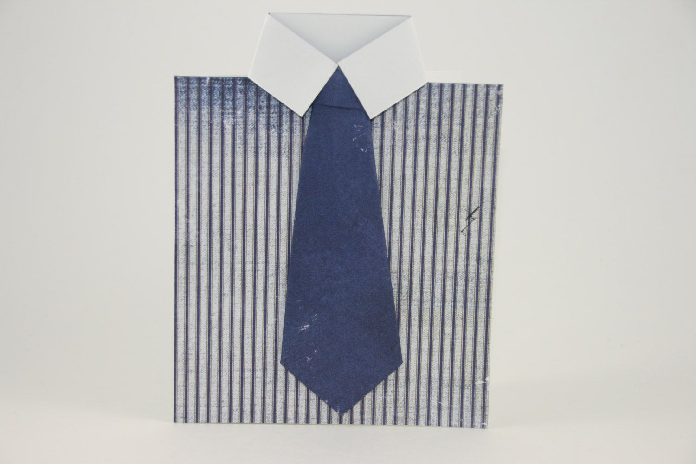 Navy Happy Fathers Day Card - Dress Shirt Fathers Day Card - Navy Tie Card - Blue Dad Card - pinned by pin4etsy.com
