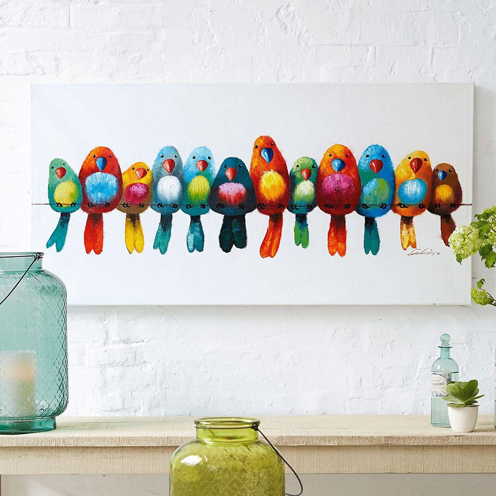 bild vogelparade wanddekoration malerei gem lde wandbild. Black Bedroom Furniture Sets. Home Design Ideas