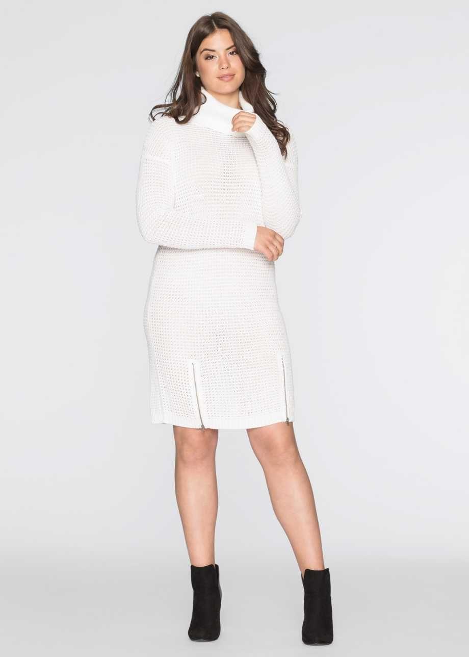 Genis Balikci Yaka Triko Elbise Bodyflirt Beyaz Elbise Giyim Triko