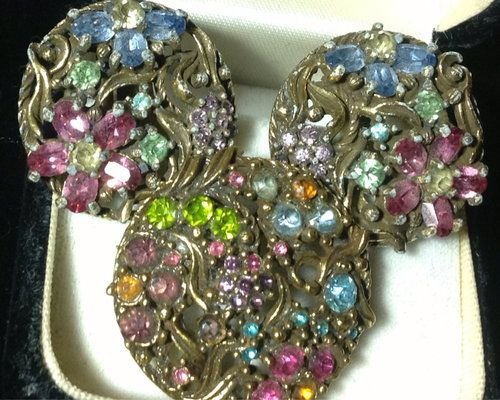 ♦easter Pastel 1950s Rhinestone Flower Blossoms Vintage Brooch Earrings♦ | eBay