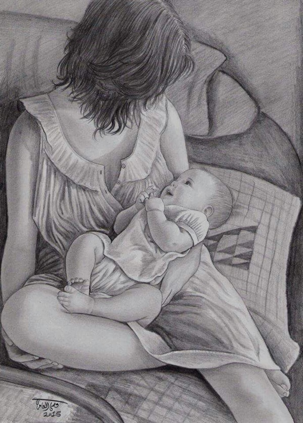 Mother And Baby Images Pencil Sketch : mother, images, pencil, sketch, Simple, Pencil, Mother, Child, Drawings, Drawing,, Portrait, Female, Painting