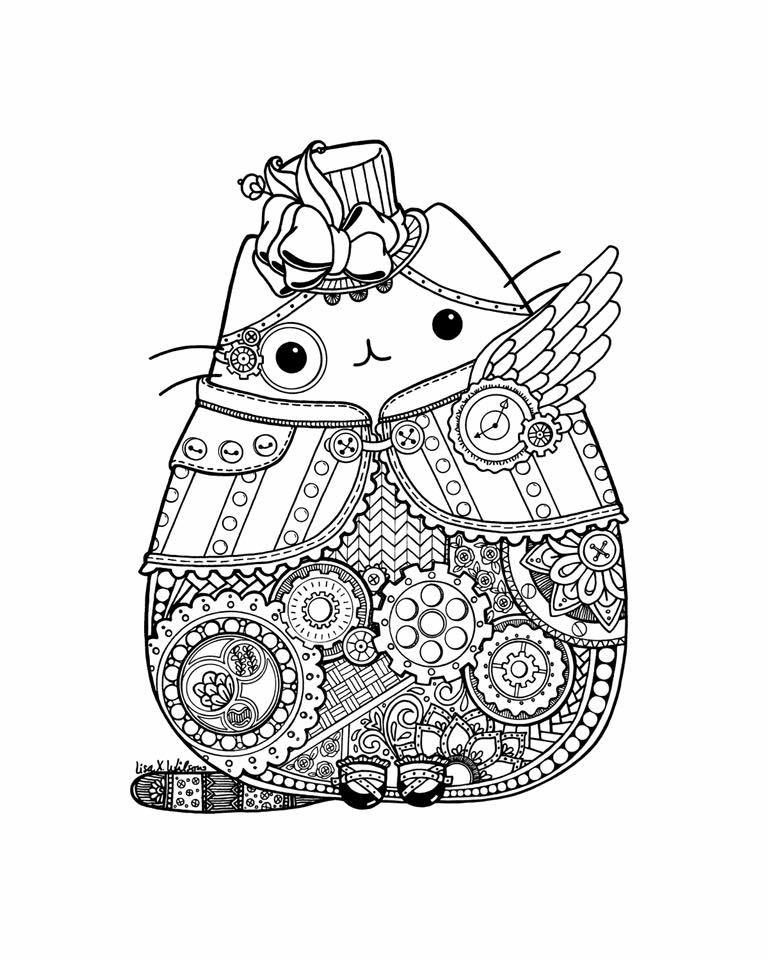 Lisa Wilson Pusheen Fan Club Via Facebook One Of Our Members Asked Me To Draw A Steampunk Pushee Pusheen Coloring Pages Steampunk Coloring Cat Coloring Page