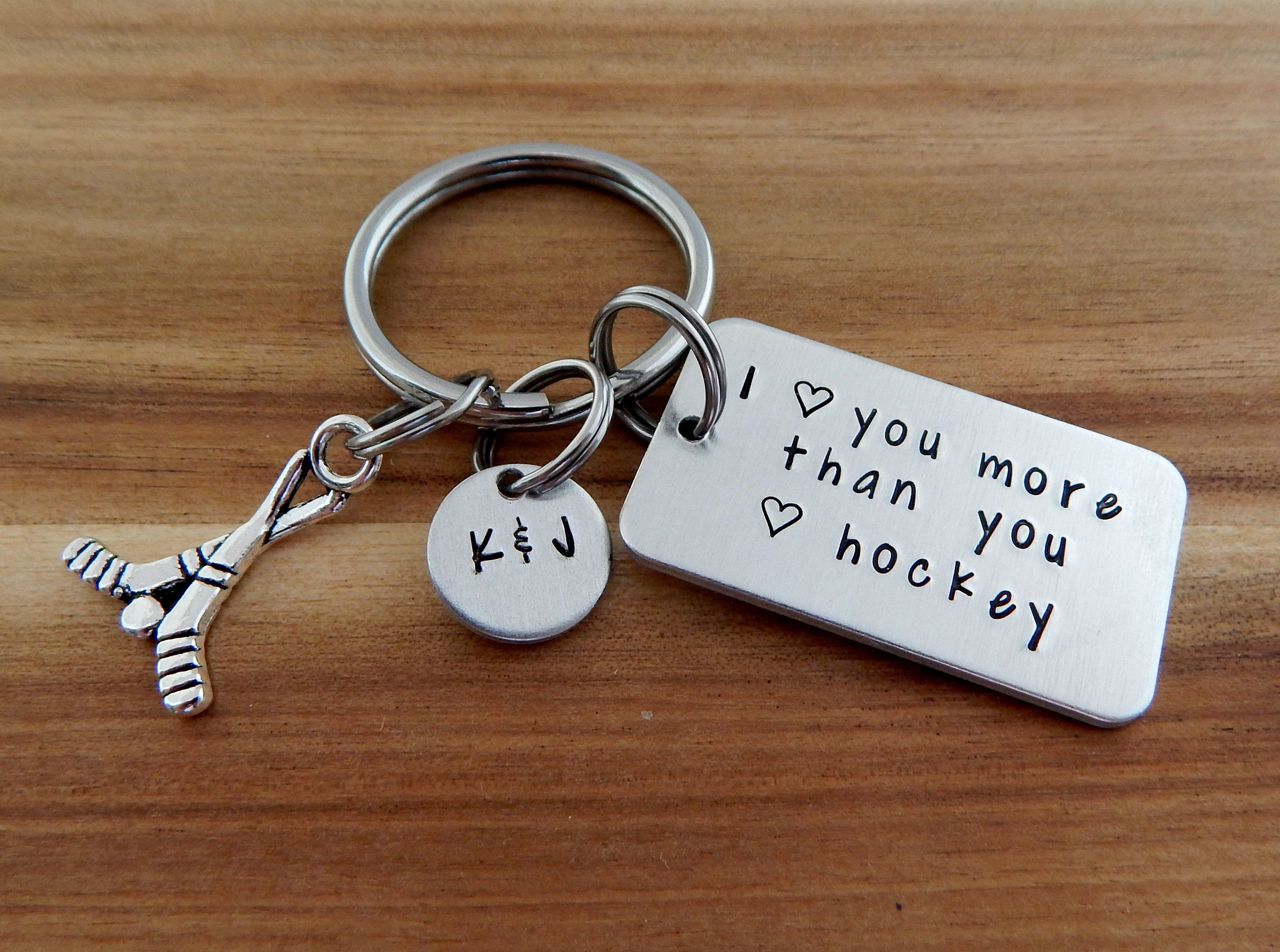 I Love You More Than You Love Hockey Personalized Hand Stamped Hockey Keychain B Boyfriend Anniversary Gifts Valentines Gifts For Boyfriend Boyfriend Gifts