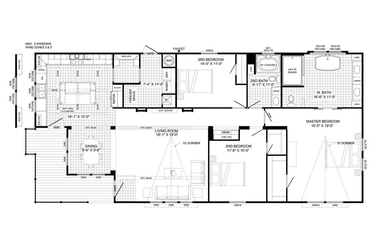 B6041afha The Lulamae Farm House Floor Plan My Dream Home Minus A Few Bedrooms Mobile Home Floor Plans Buccaneer Homes Floor Plans