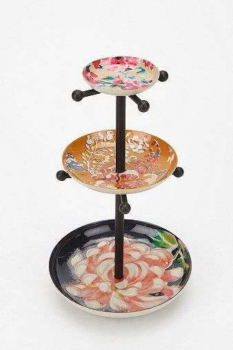 Mixed enamel plates jewelry stand - $34