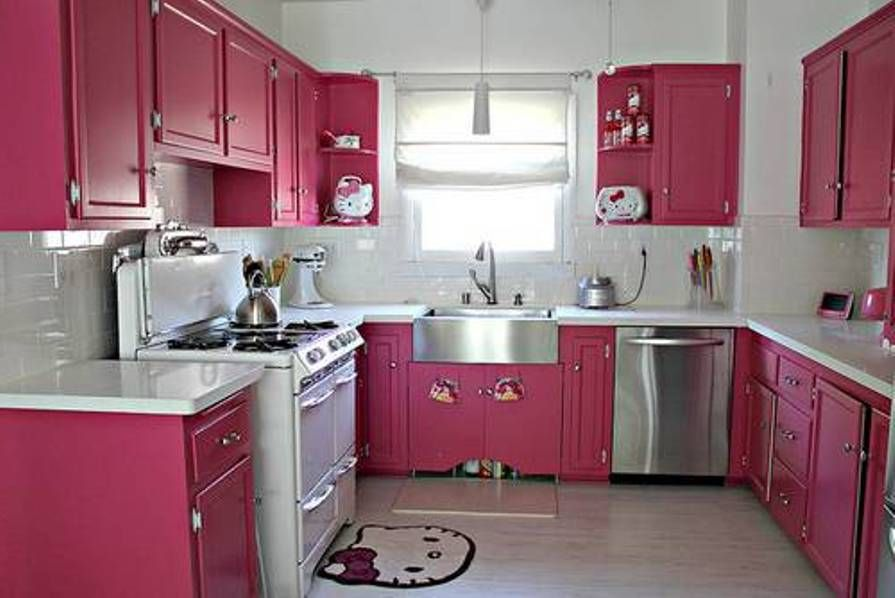 Cute Hello Kitty Accessories In Pink Kitchen Cabinet Paint Colors