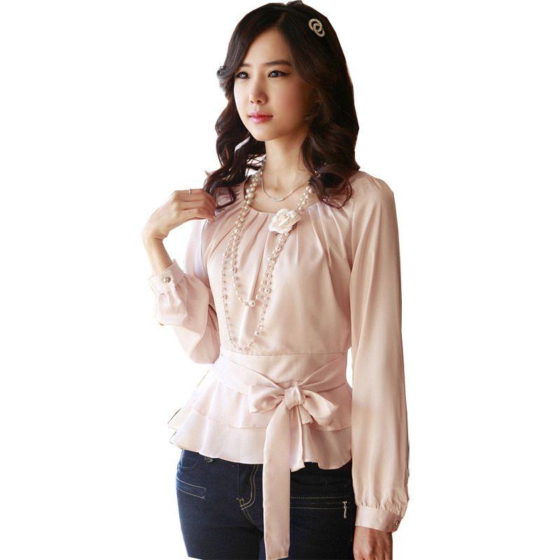 de433b0ad3 Beauty Career Lady Fashion Chiffon Blouse Size S-2XL Korean White   Pink  Smart Waist Rayon Sweet Women Casual Dress Shirts
