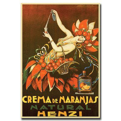 "Trademark Art ""Crema de Naranjas Natural Henzi"" by Unknown Framed Vintage Advertisement on Wrapped Canvas Size:"