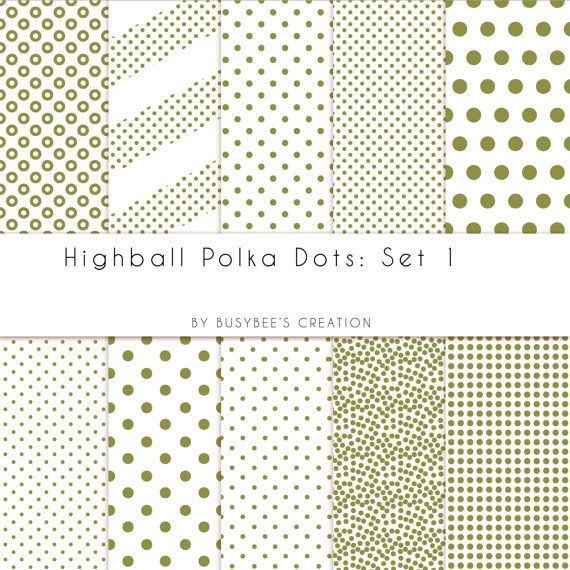 Highball Polka Dots Set 1 Digital Paper Pack by BusybeesCreation, $2.49
