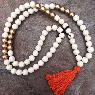 Beaded Necklace Cream/Gold with Orange Tassel - Only Southern Made - 1
