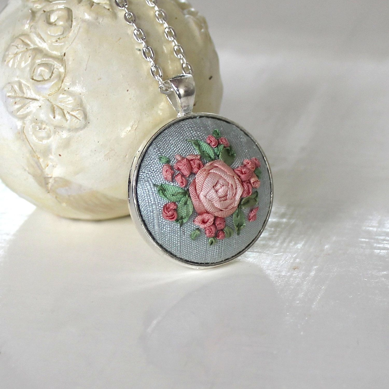 Silk Ribbon Embroidery Rose Pendant Necklace $3200, Via Etsy