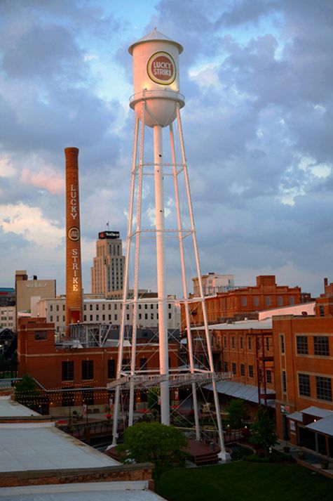 The American Tobacco District, old tobacco warehouses now are home to a public park, restaurants and more.