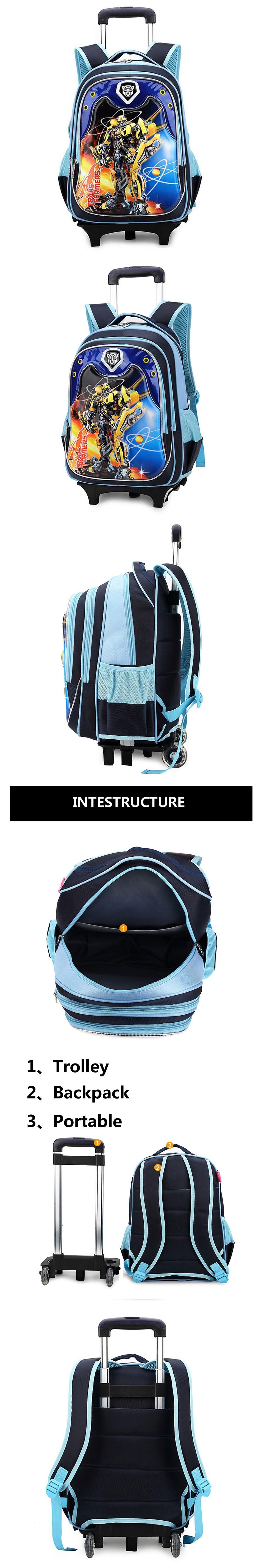 kid cartoon boys trolley school bag classic travel luggage