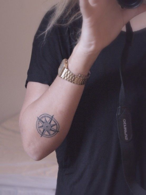 Tattoo Tattoo Ink Elbow Tattoos Tattoos Simple Compass Tattoo