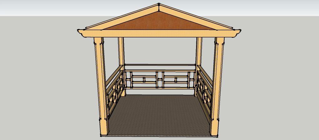 Gartenpavillon 4 x 4 Meter mit Satteldach aus Holz zum selber - gartenpavillon selber bauen