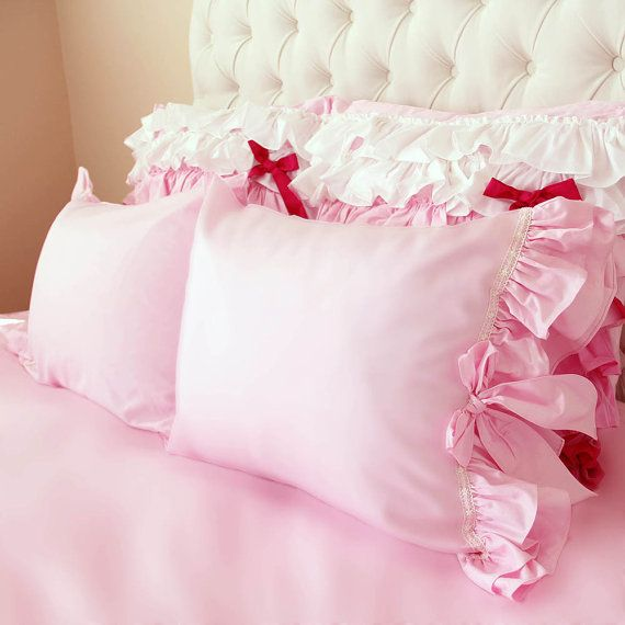 Pink Double Ruffle Tiered Lace Pillow Shams(a pair)