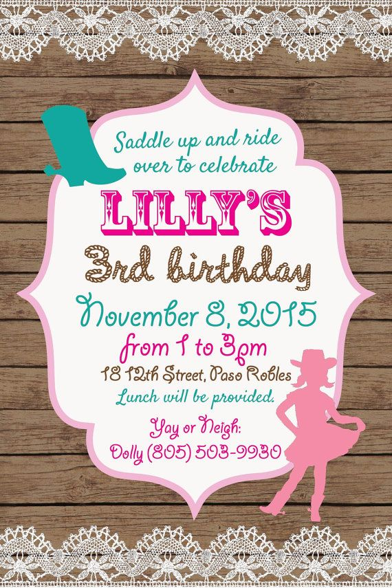 Vintage Cowgirl Printable Birthday Party Invitation Rustic Invite Pink Teal Wood Lace 3rd 1st 2nd 4th 5th