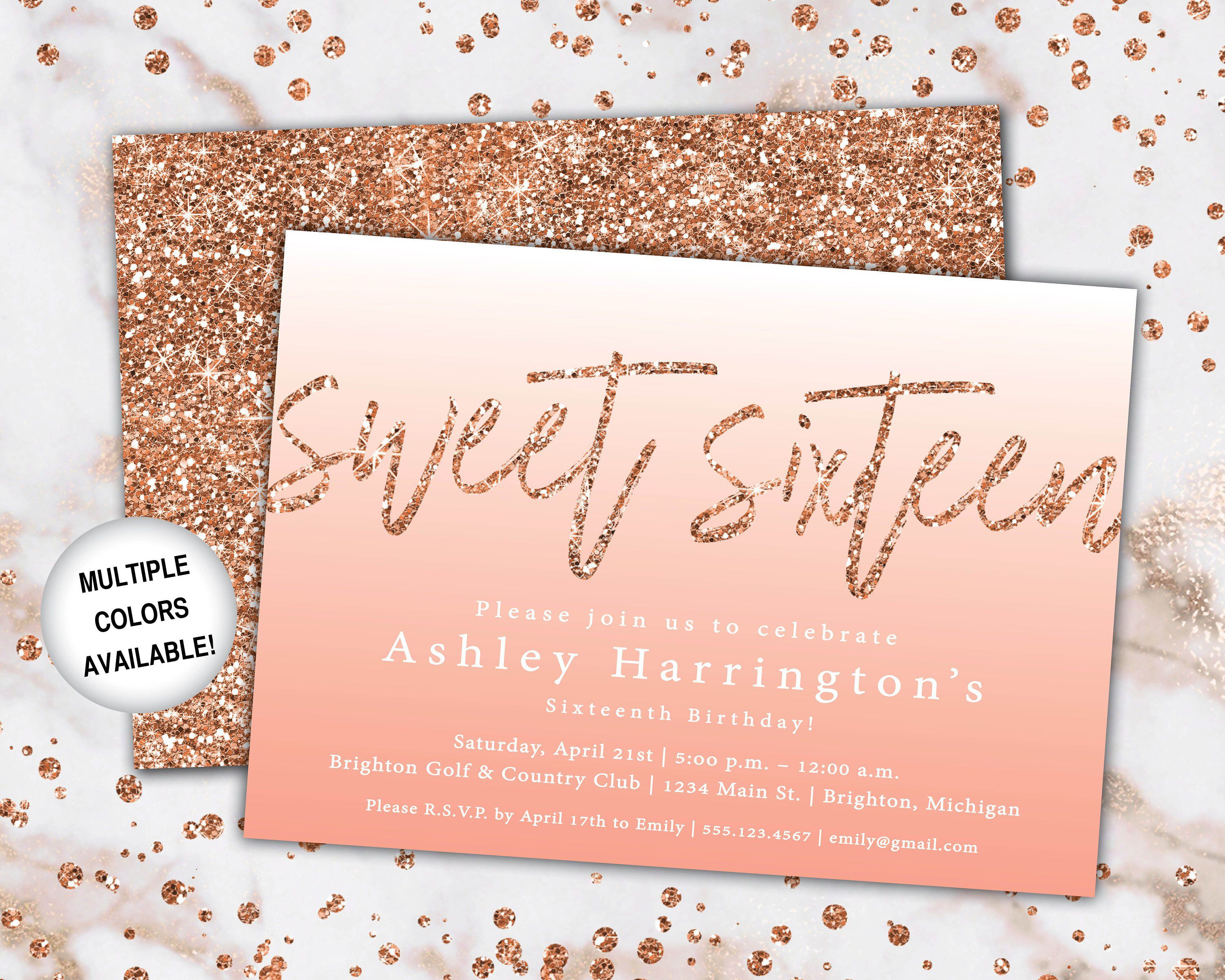 Rose Gold Sweet 16 Invitation Sweet Sixteen Birthday Invitation Template Rose Rose Gold Invitations Gold Bridal Shower Invitations Bridal Brunch Invitations