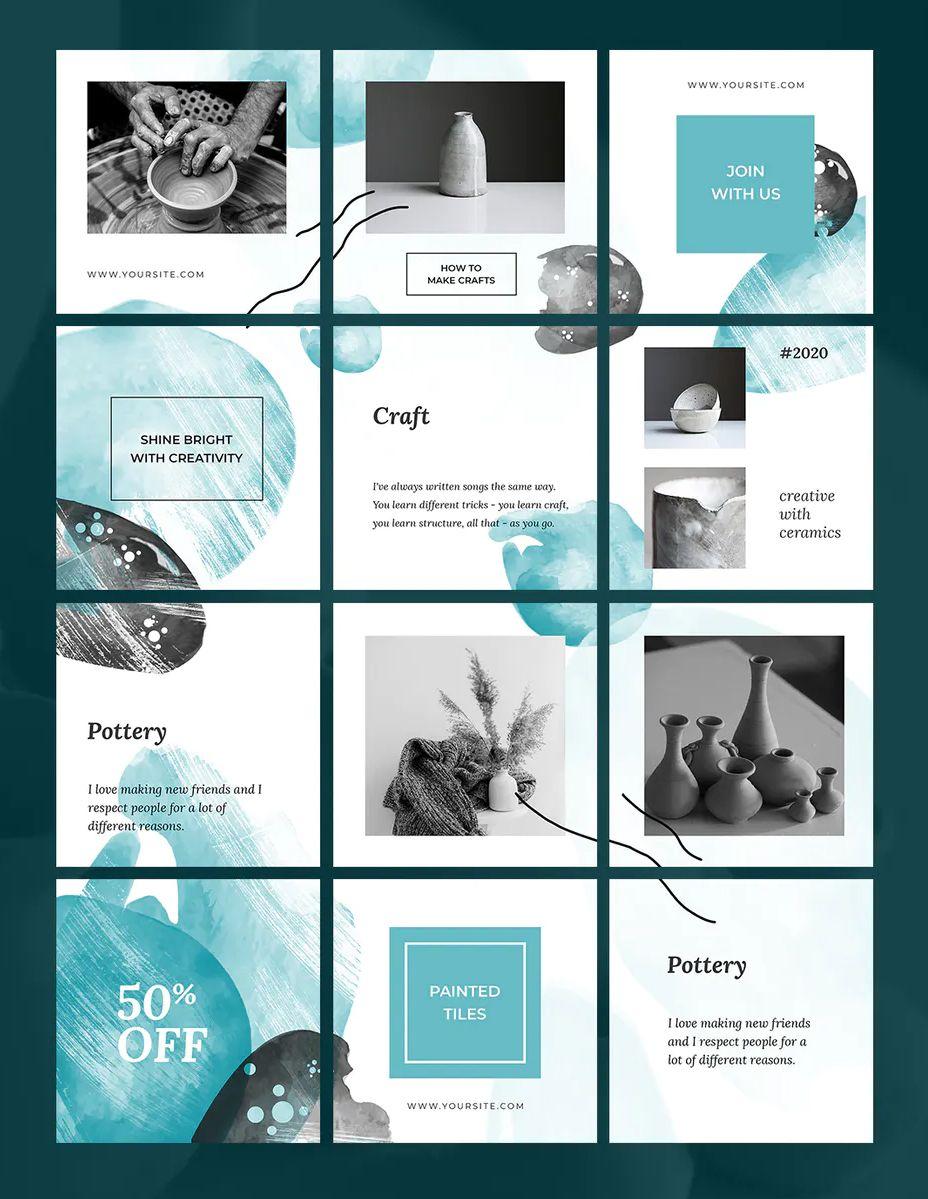 Creative Instagram Puzzle Template Psd In 2020 Instagram Graphic Instagram Grid Design Instagram Template Design
