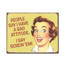 Attitude Funny Metal Tin Sign Retro Vintage Women Wall Art Home Office Decor New